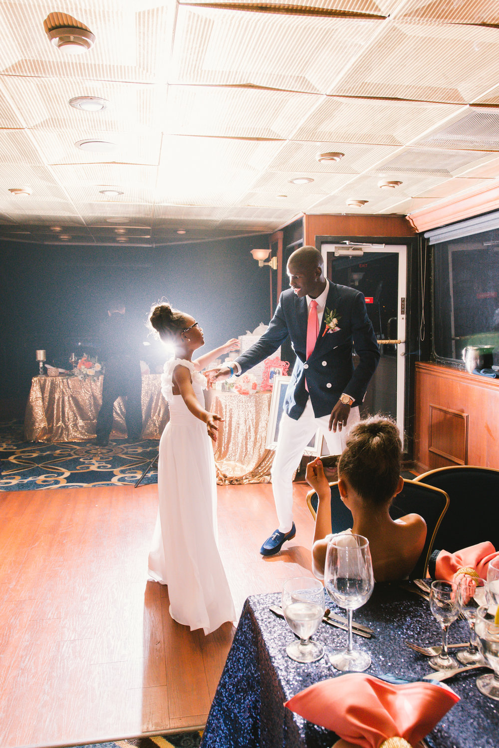 First-dance-groom-and-daughter, Yacht-wedding-reception-photo