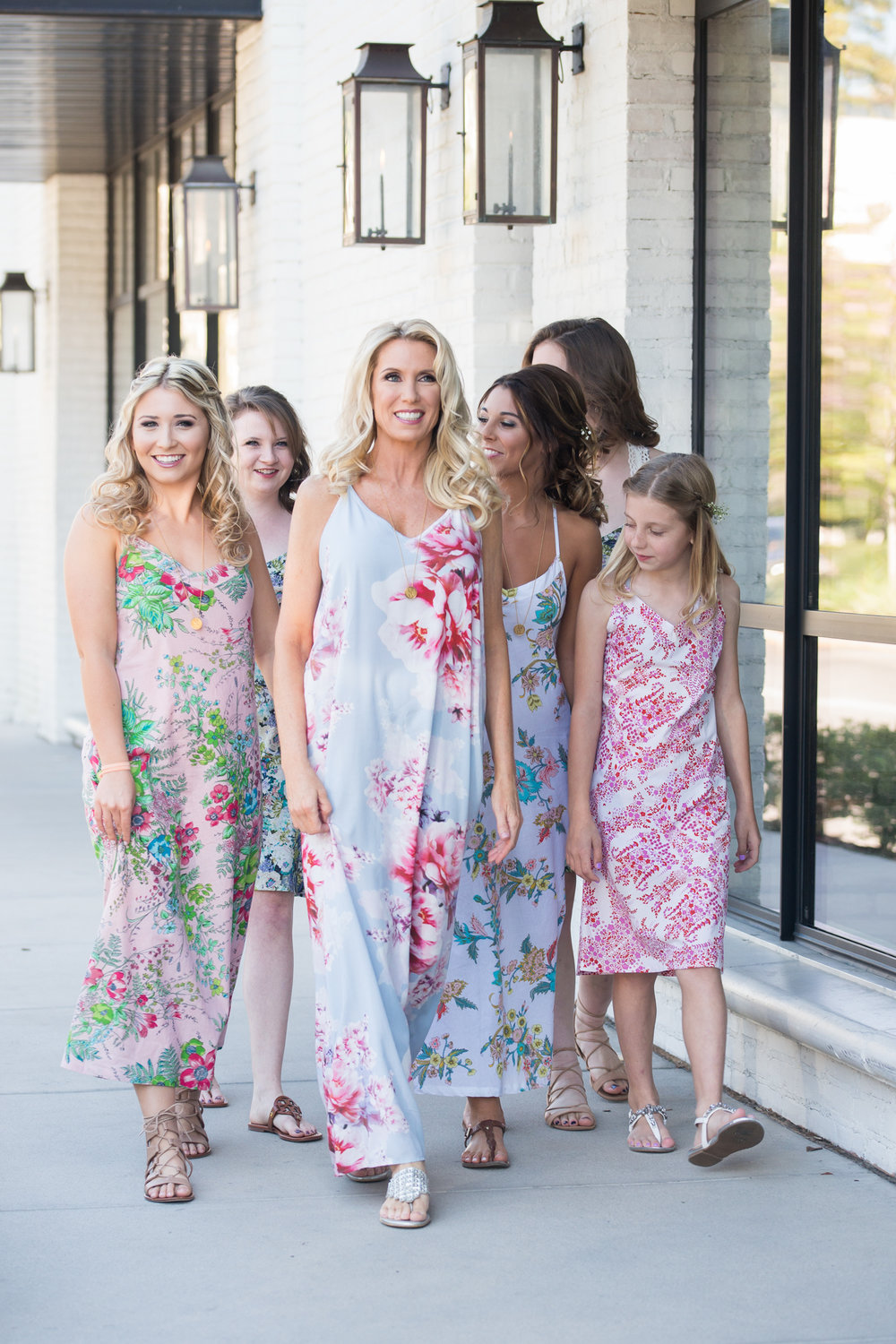 Bride-and-bridesmaids-in-floral-dresses, Tampa-wedding-photos