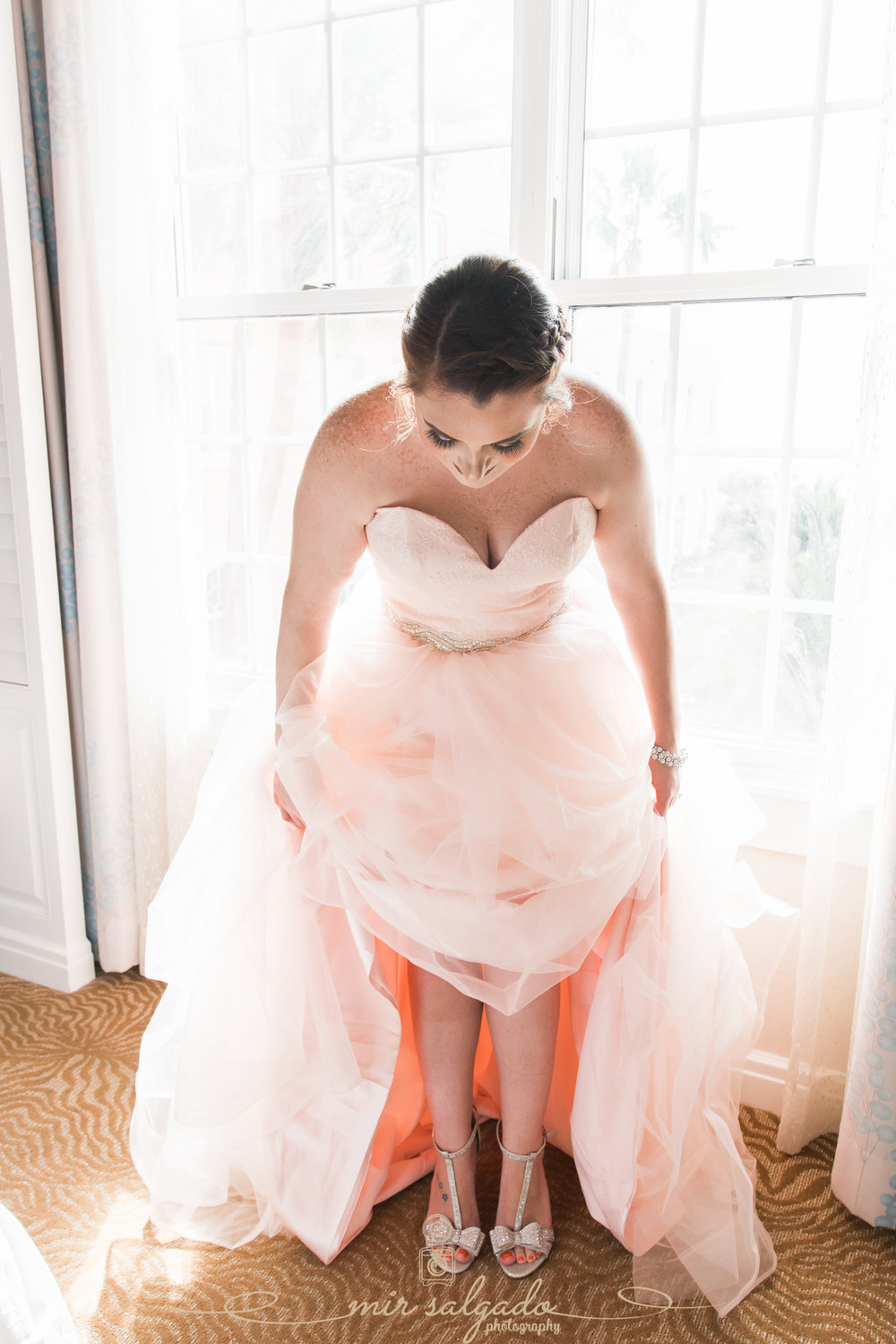 Pink-wedding-dress, Tampa-wedding-photographer, bride-shoes