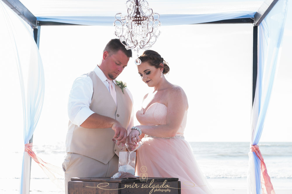 St.Pete-beach-wedding-ceremony, sand-ceremony, pink-wedding-dress