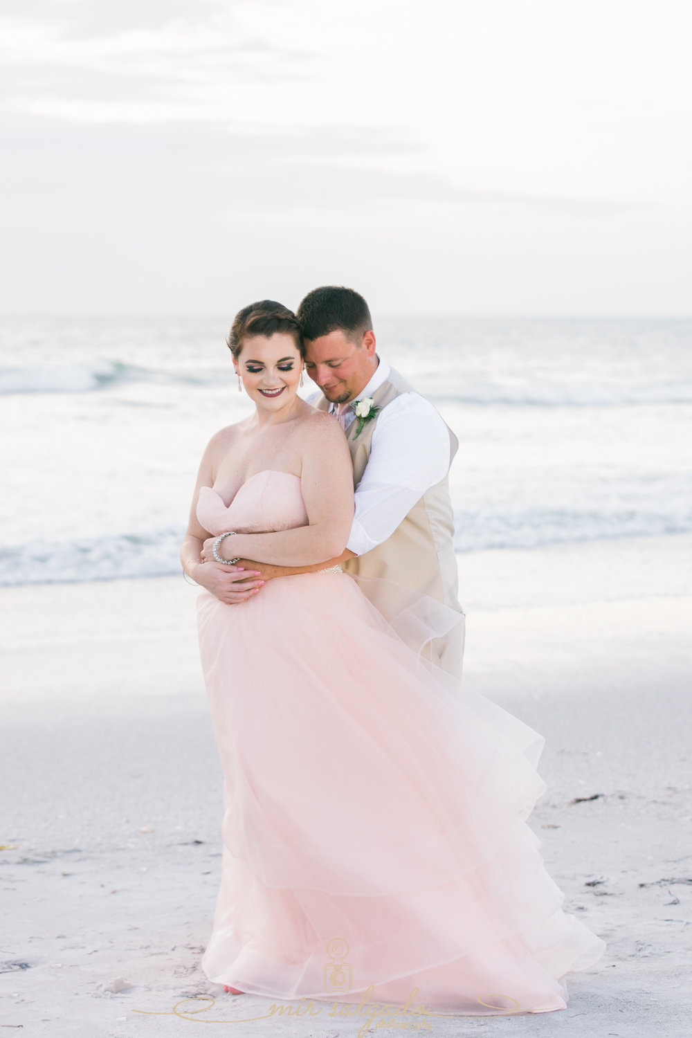 Pink-wedding-dress, Florida-beach-wedding-photo, St.Pete-wedding-photographer