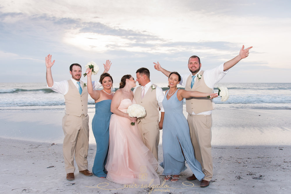 bridal-party-beach-wedding-photo, St.Pete-wedding