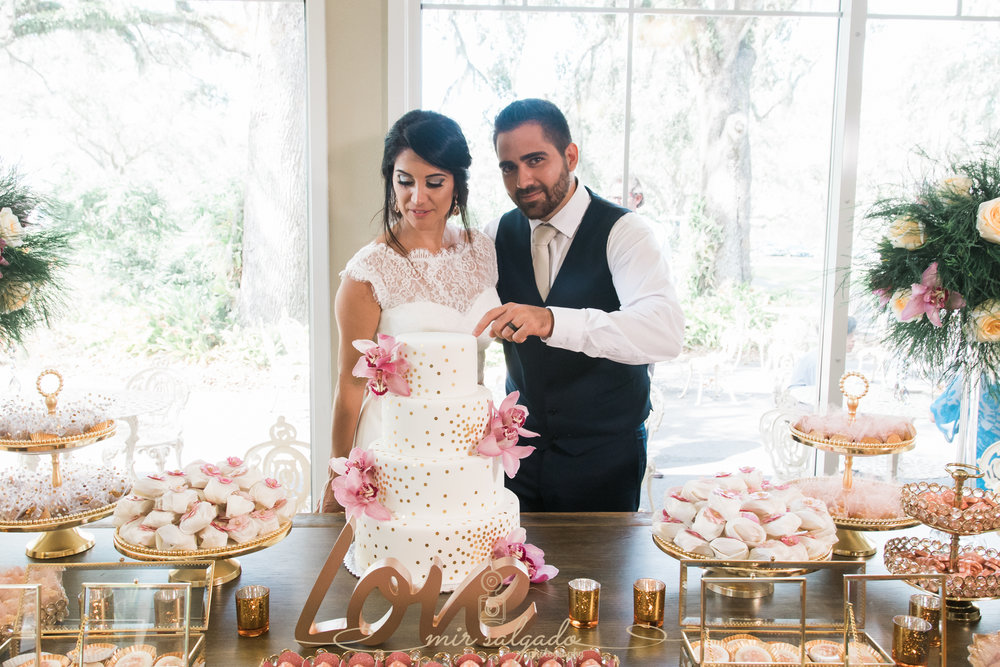 Cutting-cake-photo, Bok-tower-gardens-wedding-day, Tampa-wedding-photographer