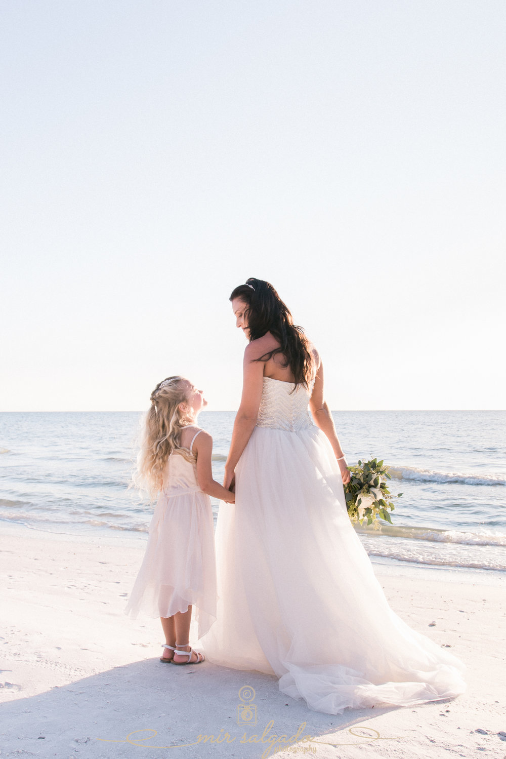 bride-and-flower-girl, beach-wedding-photo