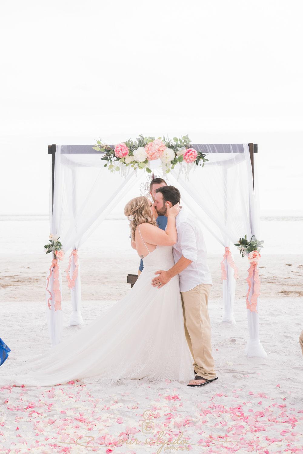Florida-beach-wedding-photo, first-kiss, St.Pete-wedding-photographer