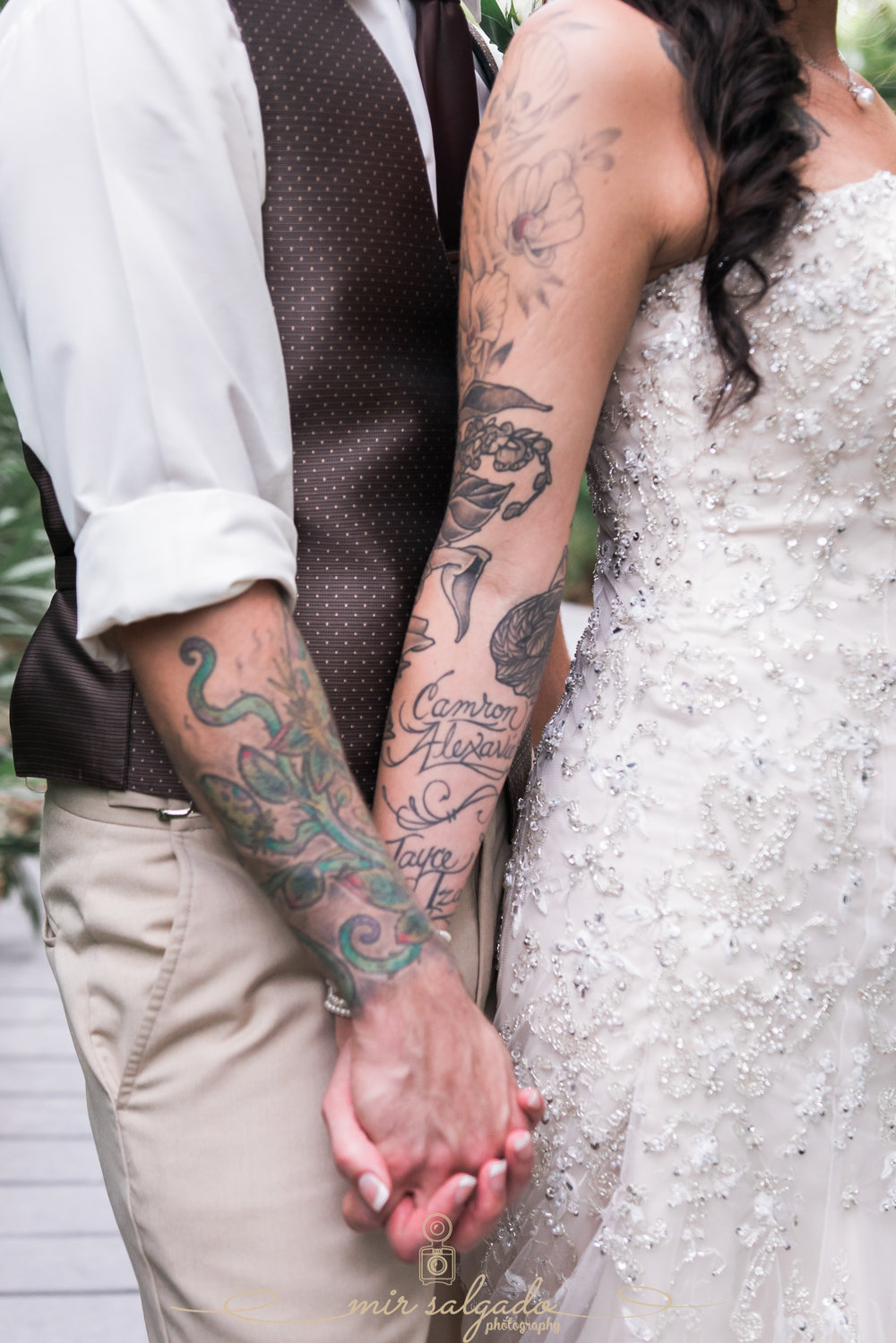 Florida-wedding-photo, bride-and-groom-tatoos