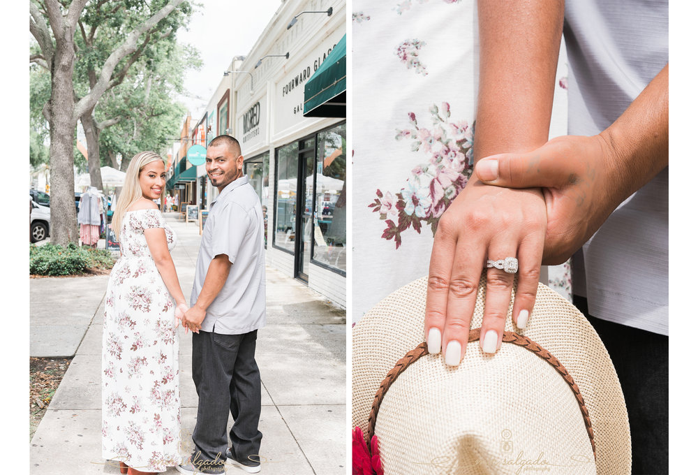 miriam-photography-tampa-st-pete-engagement-session-diamond-ring-hand-holding-walking-hat
