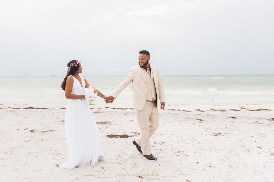 Fort-De-Soto-beach-pictures-flowers-flower-crown-wedding-dress, Tampa-wedding-photographer