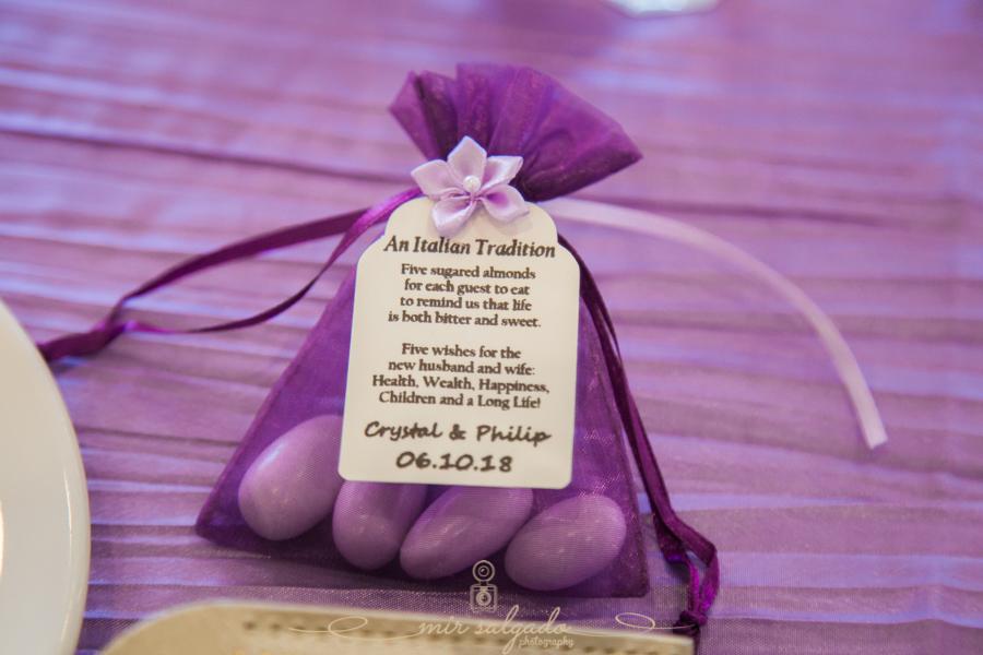 purple-gift-bags, flower-emblem