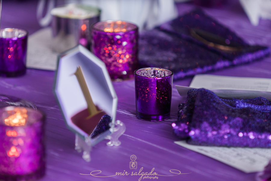 purple-candle-holders, purple-table-cloths, mirror-table-numbers