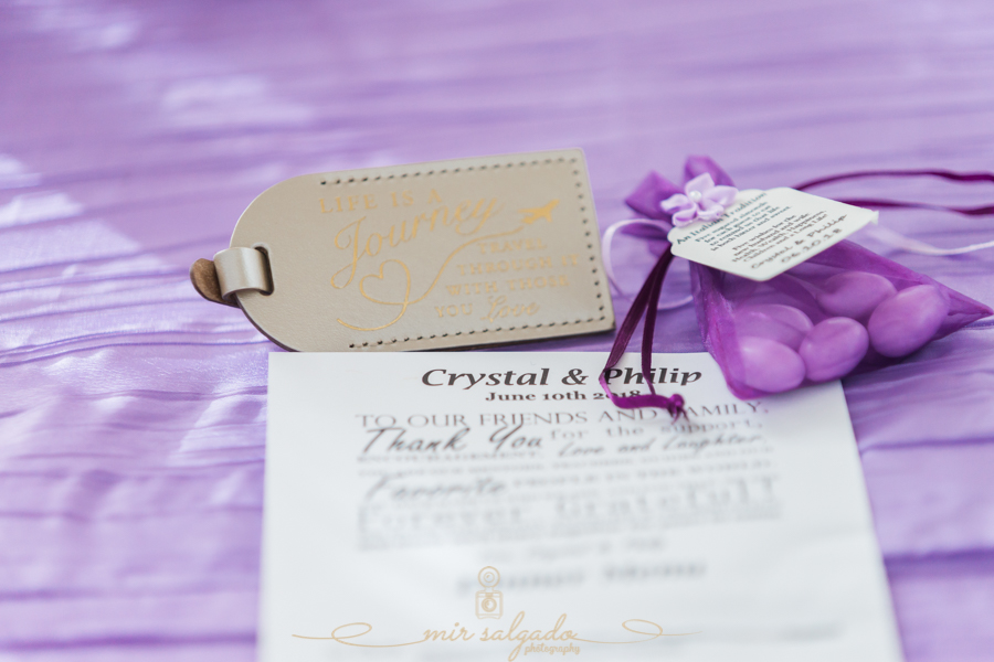 purple-favors, thank-you-letters, clearwater-beach-wedding