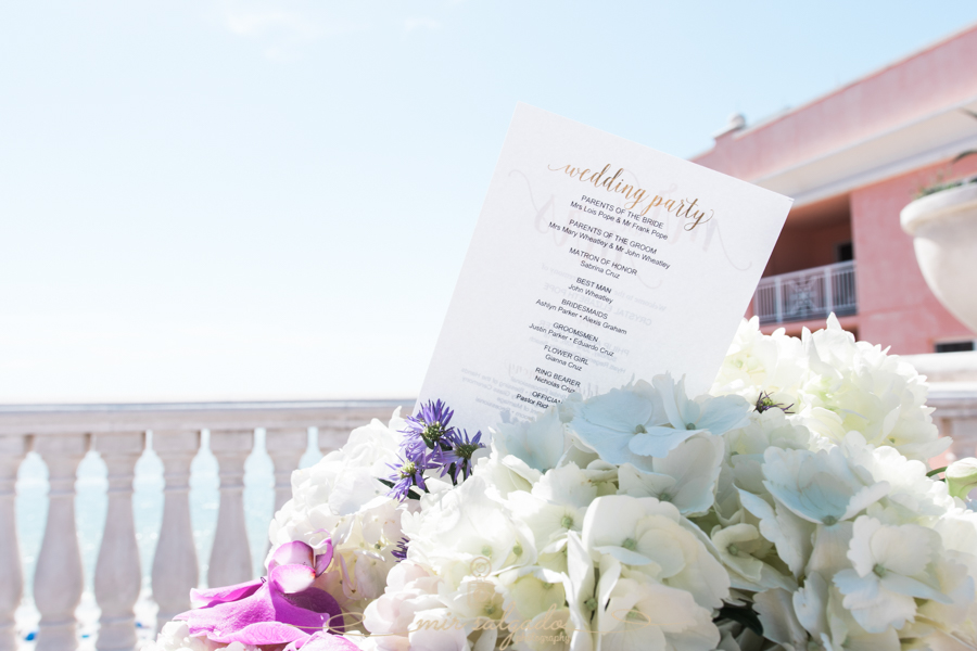 clearwater-session, beach-side-Hyatt-hotel, flower-arrangment, wedding-active-ceremony-participants-list