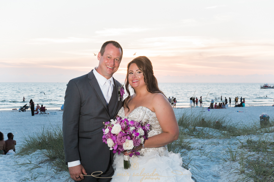 Tampa-wedding-photographer, bride-groom-session, wedding-photography, sandy-beach-shrubs, clearwater-beach-session