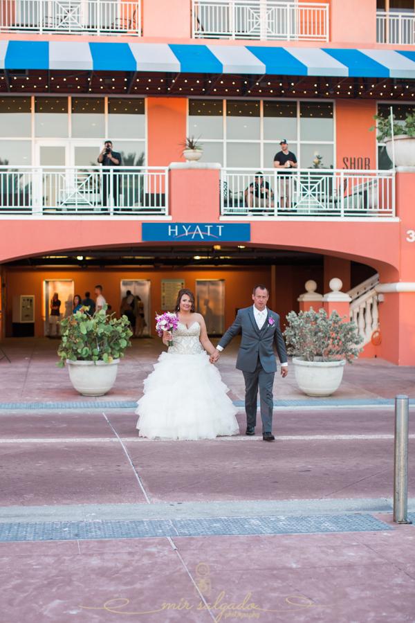 Hyatt-clearwater-beach-resort-spa, Tampa-wedding-photographer, bride-groom-session, bride-groom-walking-out