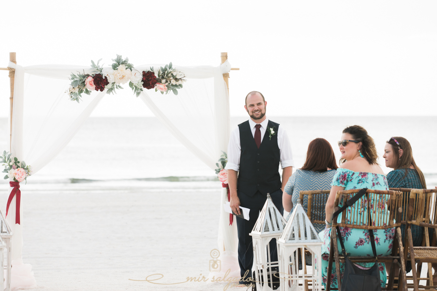 Pass-a-grille-beach-wedding, Groom-at-the-aisle