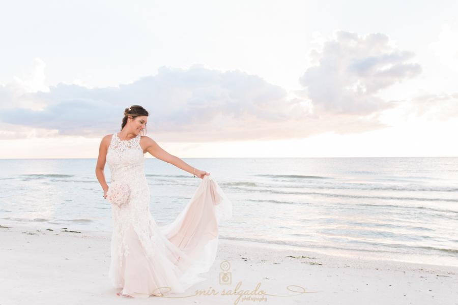 St.Pete-wedding, bride-wedding-photo-at-the-beach, sunset-beach-wedding