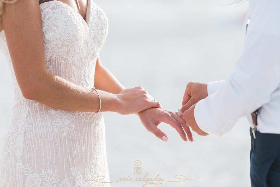 Exchange-of-rings, beach-wedding-ceremony