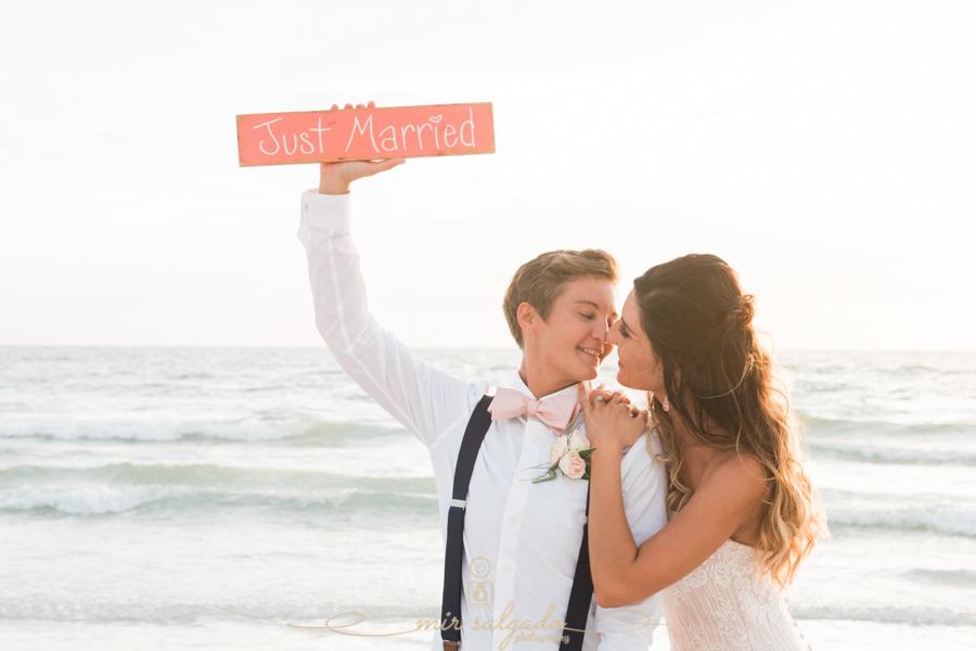 St.Pete-beach-wedding, bride-and-bride-photo