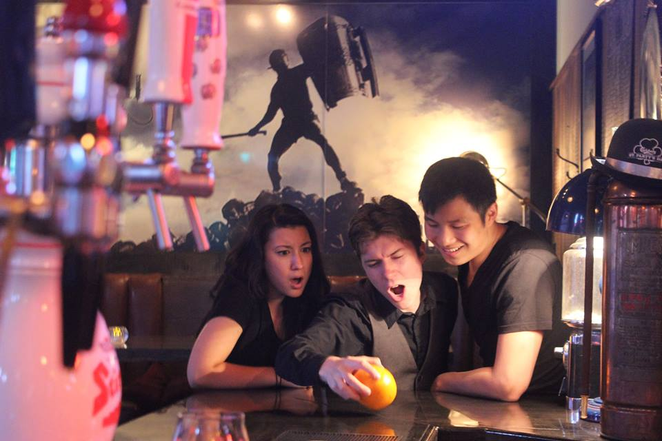 From Left: Emma Tse, Nikolas Koschany and Rion Chow in the workshop production of Bite-Sized. Photography by Nathaniel Rose.