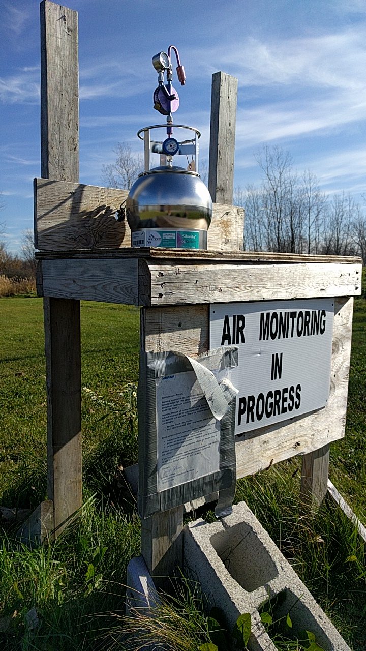 An air quality monitoring station on the Aamjiwnaang First Nations Reserve.