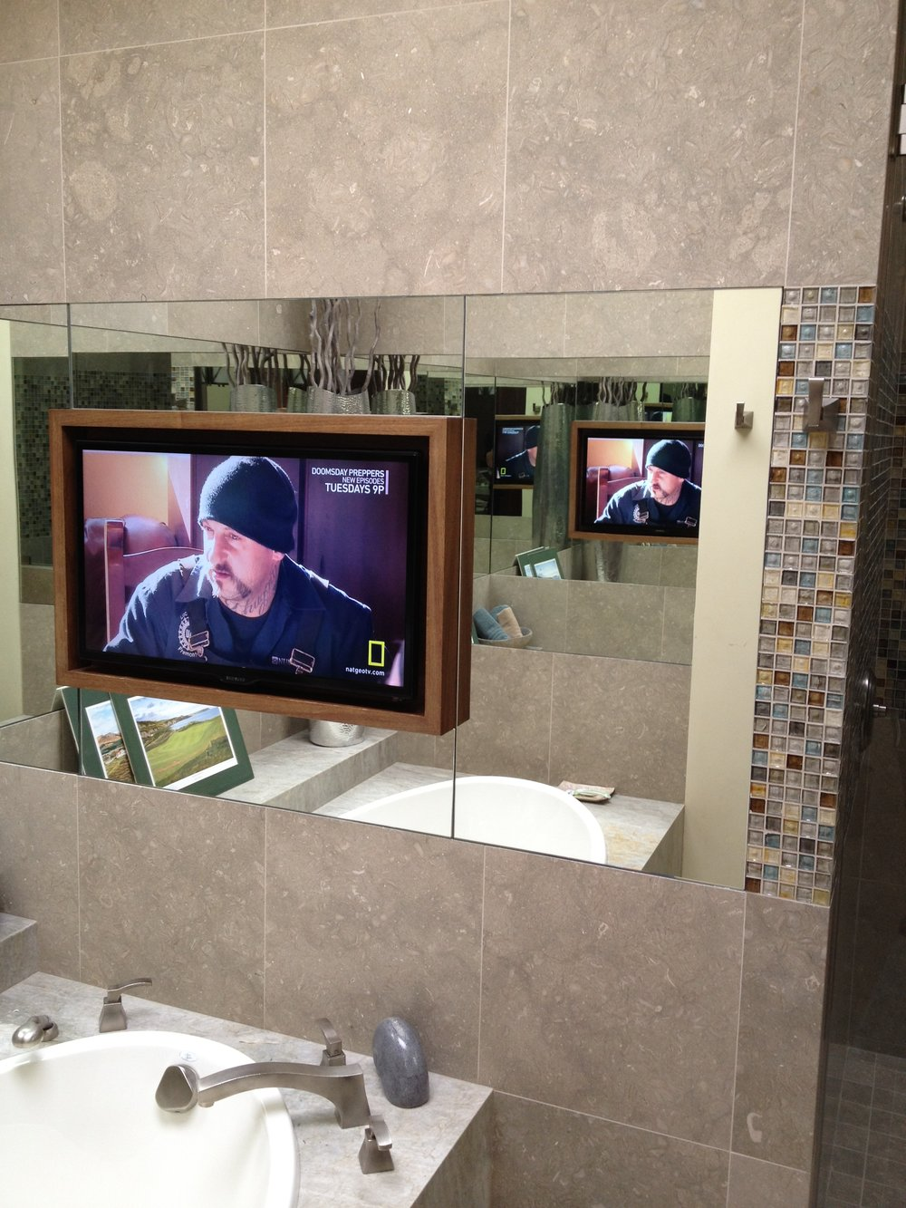 Bathroom Television with Frame