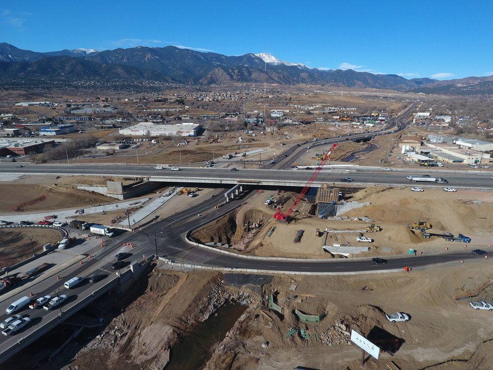 Construction Observation using a drone at I-25 and Cimarron Interchange