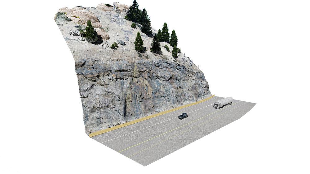 Rock Face at Exit 239 - Investigation of Rockfall Mesh