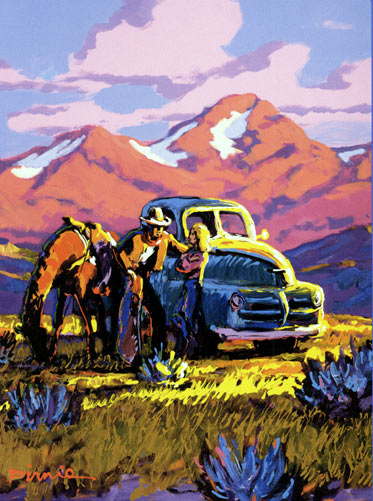"""High Country Get Together,"" Artwork by Larry Pirnie, 1999, for Millennial National Cowboy Poetry Gathering. All Rights Reserved."