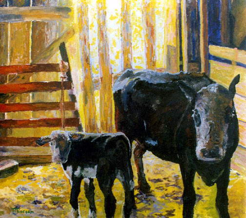 Artwork by Tom Thorson, Black Hills, South Dakota. Tom also visited Linda's ranch when a calf needed to be pulled.