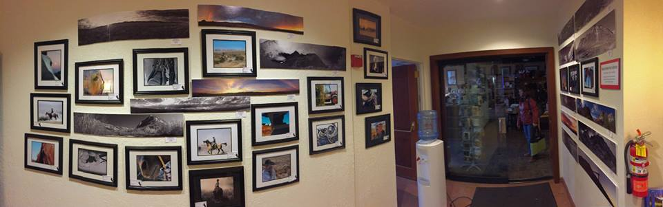Panoramic photograph of Elko County High School student photography in the Western Folklife Center elevator lobby, 2017  National Cowboy Poetry Gathering.