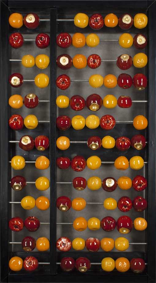 "Abacus, by Dennis Parks and John Fahnestock: purchase for $24,000 29""x54""  - Porcelain, Metal and Wood (2005)"