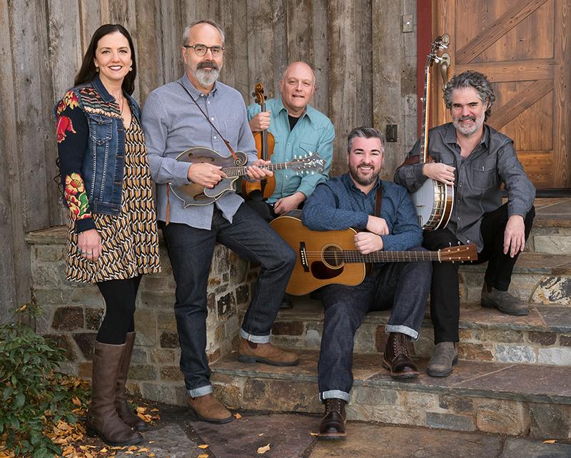 Featured: Trisha Gagnon, bass; John Reischman, mandolin; Greg Spatz, fiddle; Patrick Sauber, guitar and    Nick Hornbuckle, banjo. Photo courtesy of John Reischman