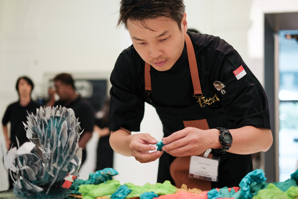 Chef Matthew Mok setting up the 'Ocean' table