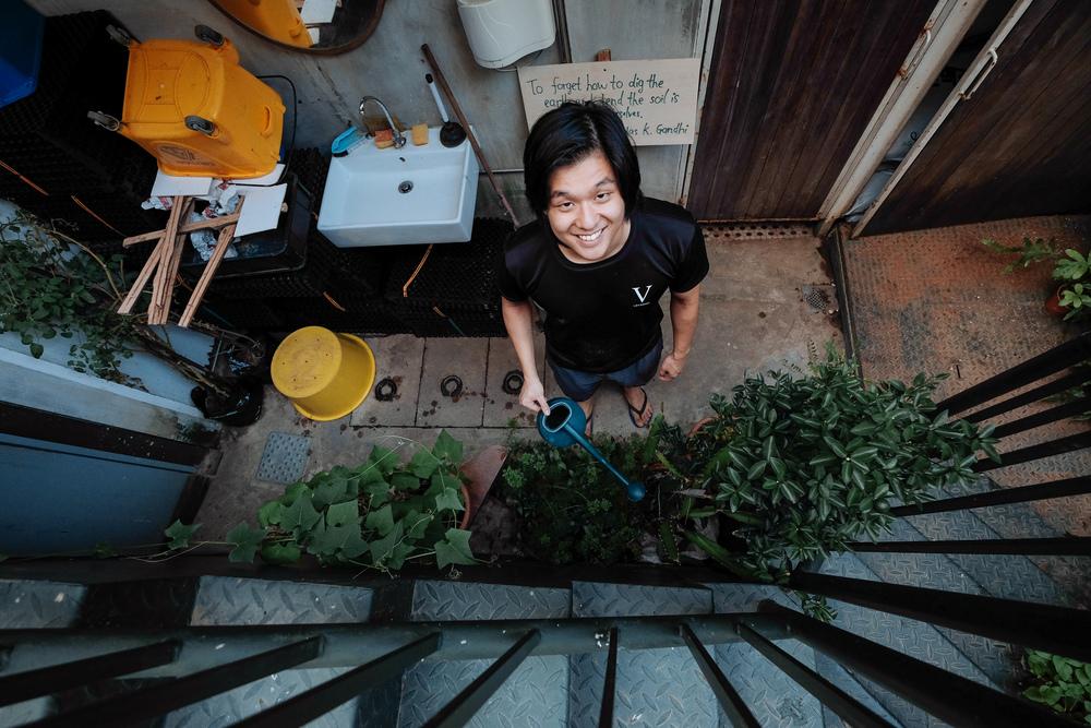 Jing Yang doing his Saturday evening watering duties