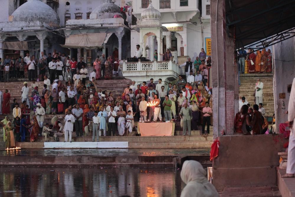 An evening aarthi (prayer/worship) in Udaipur