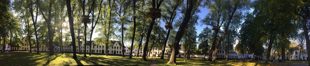 """Tree Huts in Bruges"", an installation by Tadashi Kawamata in the Beguinage for the Bruges Triennale 2015"