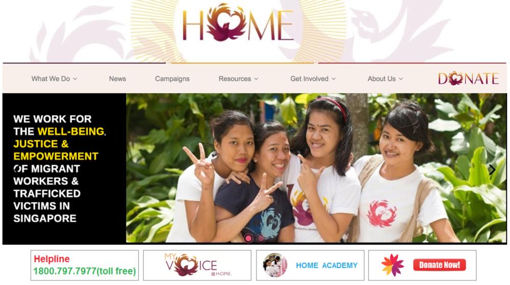 Screenshot:HOME website.