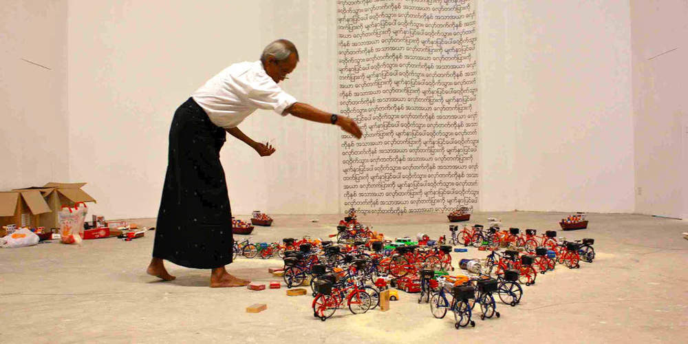 Aung Myint's The Intruders, a performance art installation. Photo copyright: Widewalls