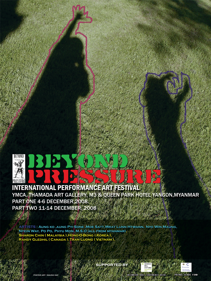 Beyond Pressure 2008 poster. Photo copyright Beyond Pressure Performance Art Festival.