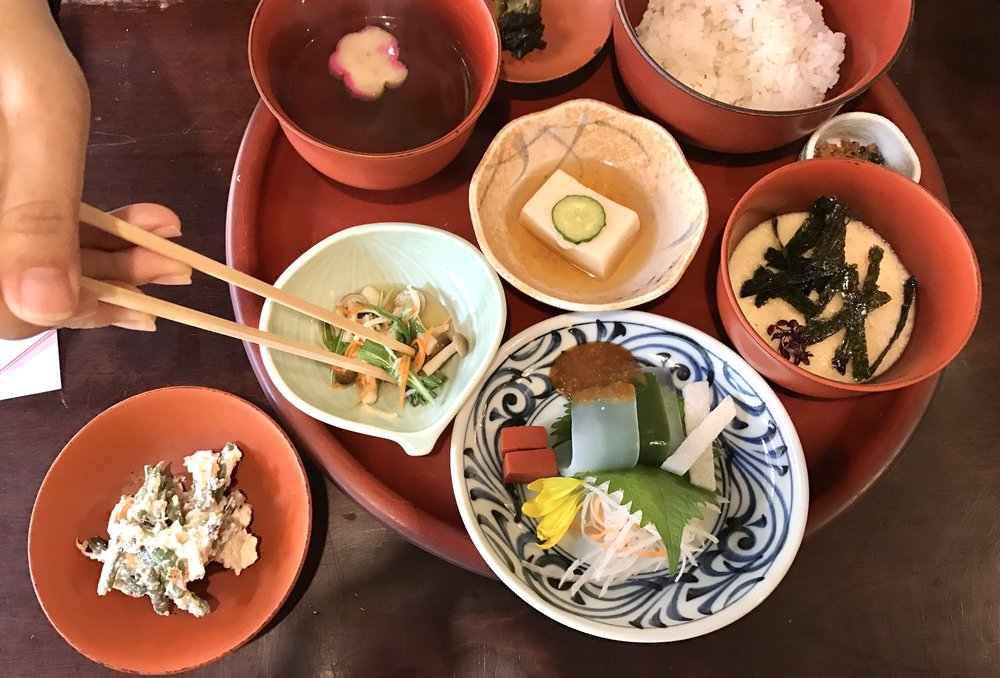 The weird dish is on the far right. The seaweed tries, but fails to mask its odd consistency. In fact, odd is a very nice way of putting it.