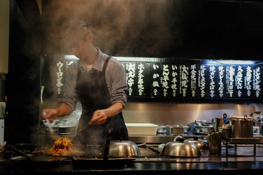 Our okonomiyaki chef at work