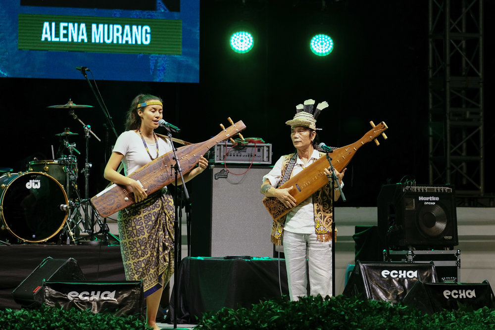 Alena Murang performs alongside veteran musician, Mathew Ngau, at Sada Kamek: Music of Sarawak, 08 July 2017, Kuching Amphitheatre. Photo: Marc Nair