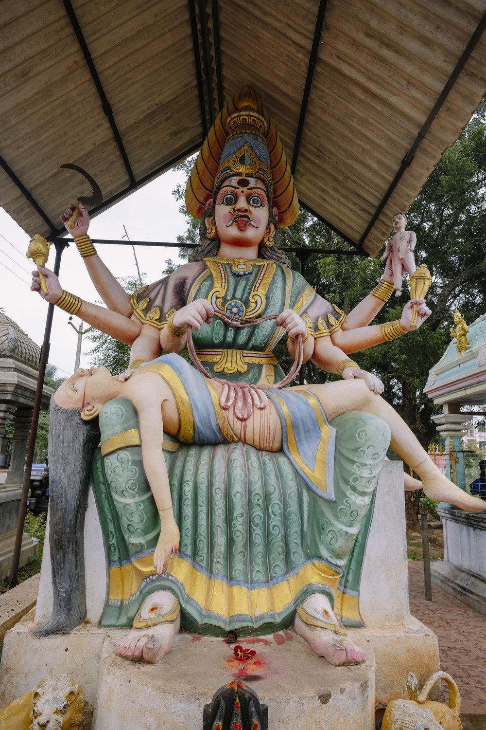 The goddess Kali can never be lodged in a glass cell, and she will have her due. This is a temple on the outskirts of Auroville.