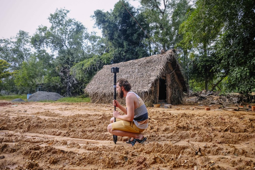 Alex making a shot close to the Visitors Centre in Auroville.