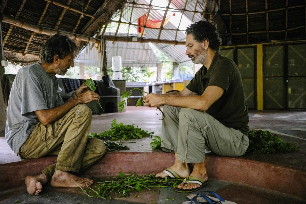 Jorge (on the right) sorting vegetables with Juan at TerraSoul.
