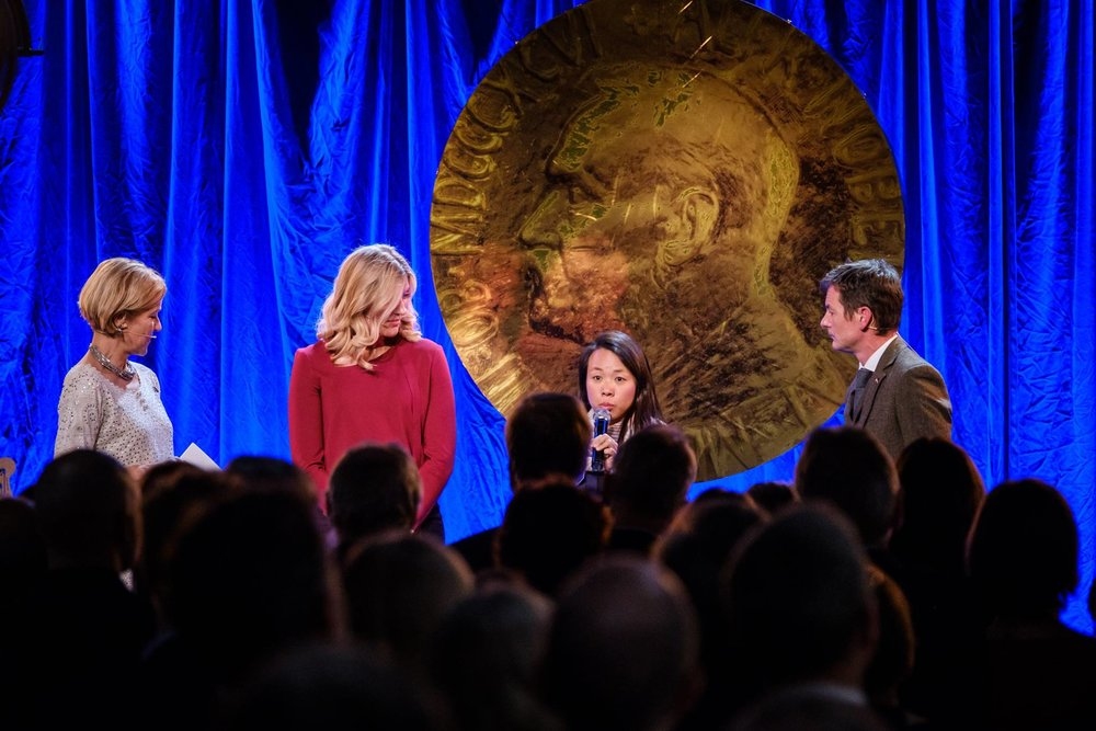 Chi Yin at the Nobel Peace Prize exhibition opening. Photo credit: Johannes Granseth for the Nobel Peace Center