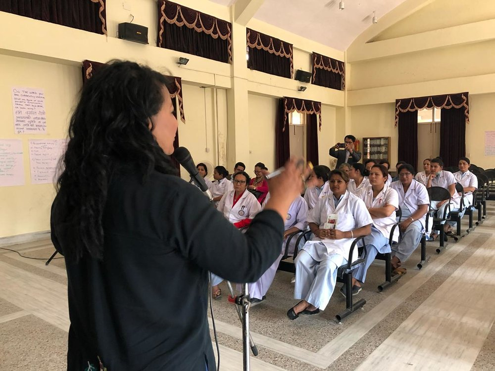 At a training programme by Unity in Health for the nursing staff of the Nepal Medical College