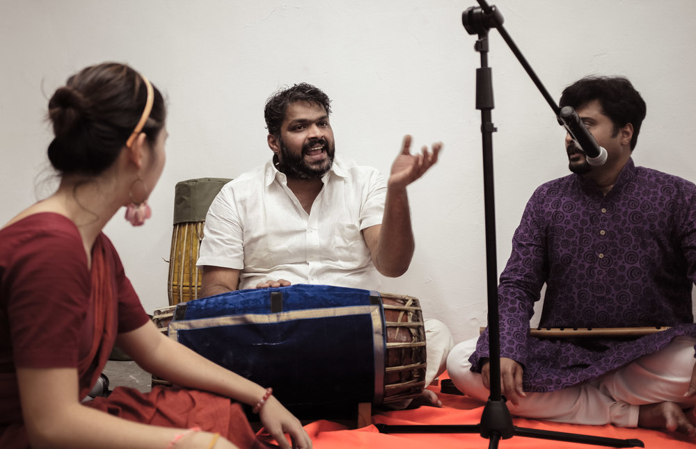 Master mridangam tutor, Tripunithura Sreekanth of the Singapore Indian Fine Arts Society, taking workshop attendees through the, literally, one-two-three-four's of basic Carnatic beats. Photo: Mackerel