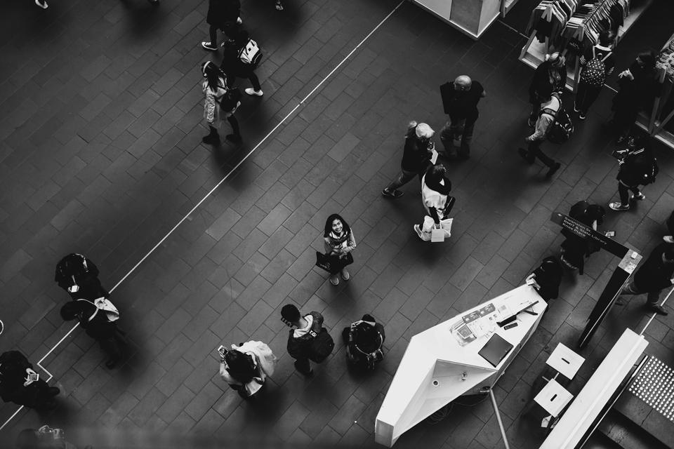 A single shopper gazes skyward. Melbourne Central (Day 8)