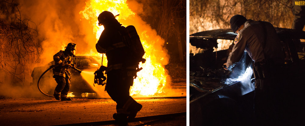 WASHINGTON D.C., December 22nd, 2017-- Firefighters Nick Mastri and Sergeant Green rush to put out the car fire before the flames can spread to other vehicles or properties (Left). A Metro DC police officer on the scene helps to try and identify the Vehicle Identification Number (Right).  Photos by Taylor Mickal.